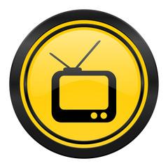 tv icon, yellow logo, television sign