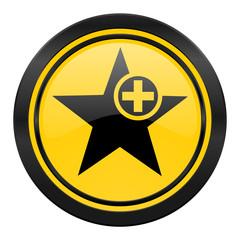 star icon, yellow logo, add favourite sign