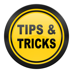 tips tricks icon, yellow logo,