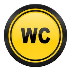 toilet icon, yellow logo, wc sign