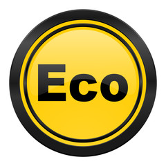 eco icon, yellow logo, ecological sign