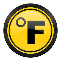 fahrenheit icon, yellow logo, temperature unit sign