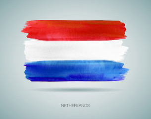 Vector of Netherlands Flag. Watercolor background
