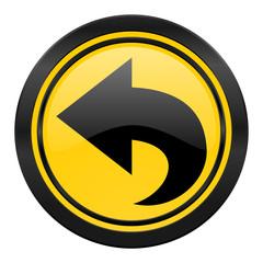 back icon, yellow logo, arrow sign