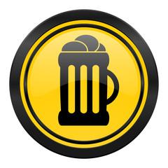 beer icon, yellow logo, mug sign