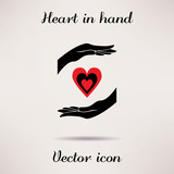 Pictograph of heart in hand Vector icon Template for design. poster