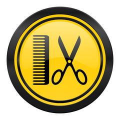 barber icon, yellow logo,