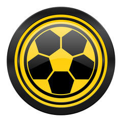 soccer icon, yellow logo, football sign