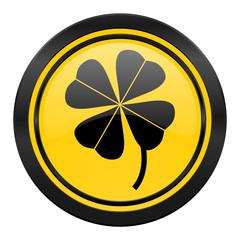 four-leaf clover icon, yellow logo,