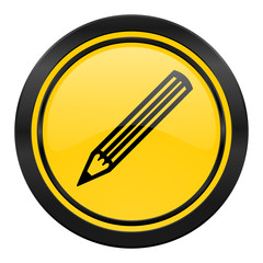 pencil icon, yellow logo,