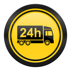 delivery icon, yellow logo, 24h shipping sign