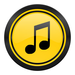 music icon, yellow logo, note sign