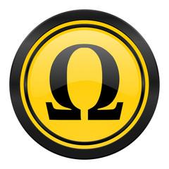 omega icon, yellow logo,