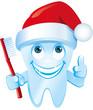 lachender Zahn mit Weihnachtsmütze und Zahnbürste