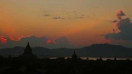 beautiful pagoda at red sunset in Bagan