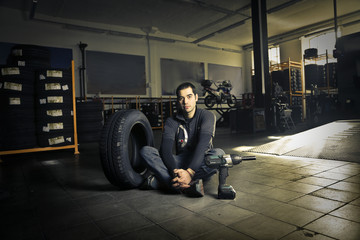 A mechanic in the garage