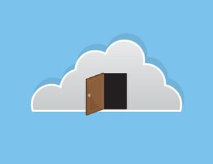 Cloud with open wooden door