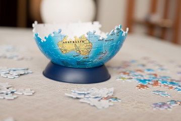 Part of the globe collected from puzzle
