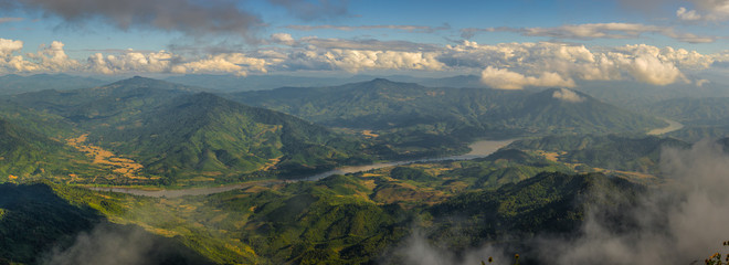 Mekong river and mountain landscape