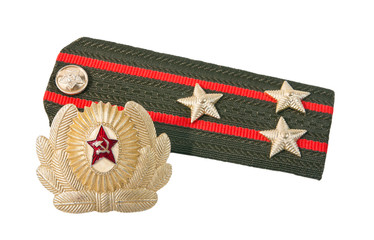 Shoulder straps colonel of soviet army and cockade