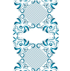 Illustration with floral ornament in blue tones.
