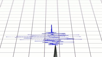 seismograph with arrow drawing with blue ink