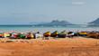 Leinwanddruck Bild - Fishing boats rest in Mindelo beach.