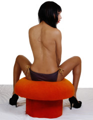 Topless Light Skinned Black Woman Sitting Stool