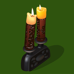 Illustration burning old ornamental candles with candlestick