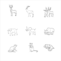 deer, elephant, rhino, rat animal vector