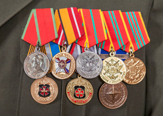 SAMARA, RUSSIA - MAY 28, 2014: Different awards and medals on th