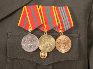 Different russian awards and medals on the uniform