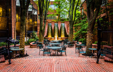 Fountains and outdoor dining area in downtown Lancaster, Pennsyl