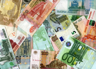 Background. Euro banknotes and Russia rubles