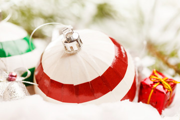 Christmas balls with snow