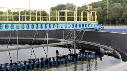 Sewage treatment plant, secondary clarifier (sedimentation tank)