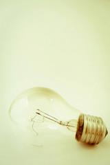 Old broken tungsten light bulb
