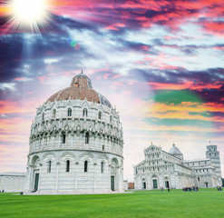 Stunning sunset view of Square of Miracles, Pisa