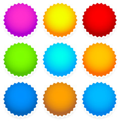 9 bright blank badge, starburst shape