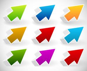 Colorful 3d arrow set
