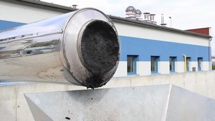 Sewage sludge at sewage treatment plant. 3 Closeup.