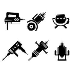Black icons collection of construction equipment