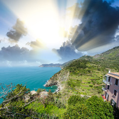 Stunning seascape of Cinque Terre. Five Lands at sunset, Italy