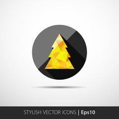 polygon christmas tree icon