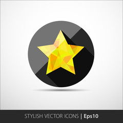 Flat vector polygonal star icon