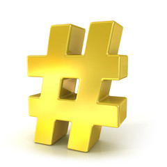 Hashtag, number mark 3d golden sign isolated on white background