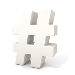 Hashtag, number mark 3d white sign isolated on white background