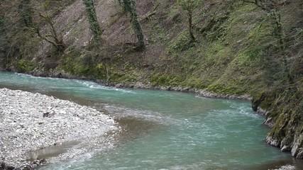 Mountain river Mzymta, Krasnaya Polyana, Sochi