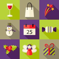 9 Christmas Flat Icons Set 5