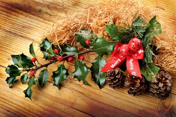 agrifoglio e fiocco Marry Christmas